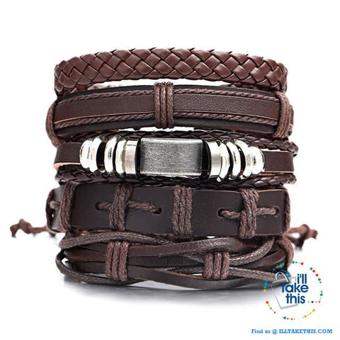 Image of Multistack individual Men's/Women's Punk Bracelets, Handmade Leather Wristband Bracelet Rope Jewelry - I'LL TAKE THIS