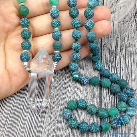 Natural Quartz Double point Crystal Pendant with Green Agate 8mm Beads - I'LL TAKE THIS