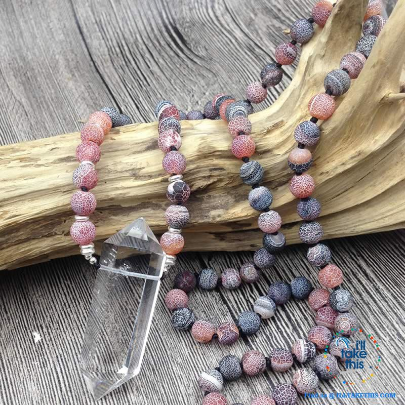 Natural Quartz Double point Crystal Pendant with Plum colored Agate 8mm Beads - I'LL TAKE THIS