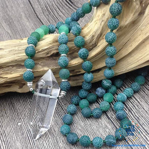 Natural Quartz Double point Crystal Pendant with Green Agate 8mm Beads