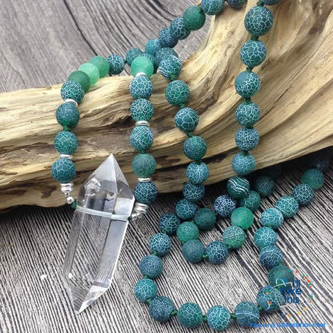 Image of Natural Quartz Double point Crystal Pendant with Green Agate 8mm Beads - I'LL TAKE THIS