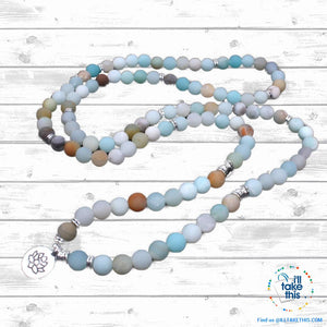 Natural stone handmade Necklace/Wrap bracelet matte frosted amazonite beads with Lotus, OM or Buddha Charms