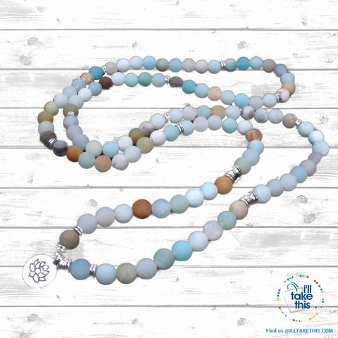 Natural stone handmade Necklace/Wrap bracelet matte frosted amazonite beads with Lotus, OM or Buddha Charms - I'LL TAKE THIS