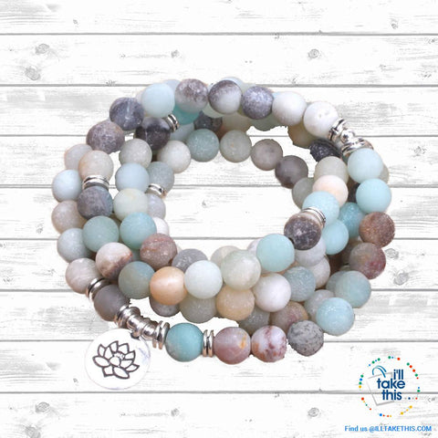 Image of Natural stone handmade Necklace/Wrap bracelet matte frosted amazonite beads with Lotus, OM Charms - I'LL TAKE THIS