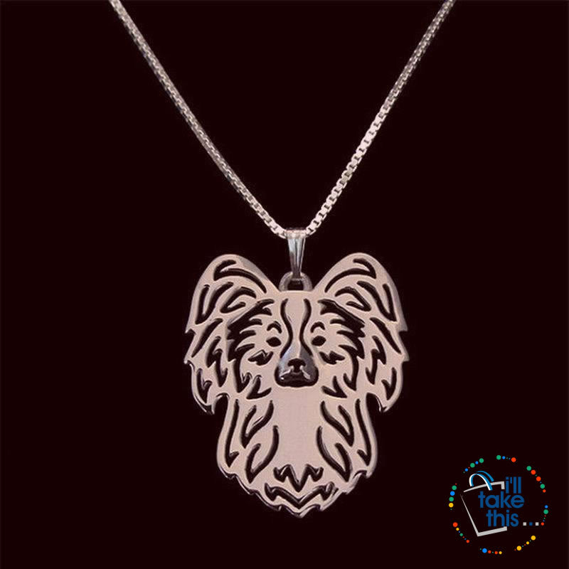 Papillon Dog Pendant in Gold, Silver or Rose Gold with BONUS Link Chain Necklace - I'LL TAKE THIS