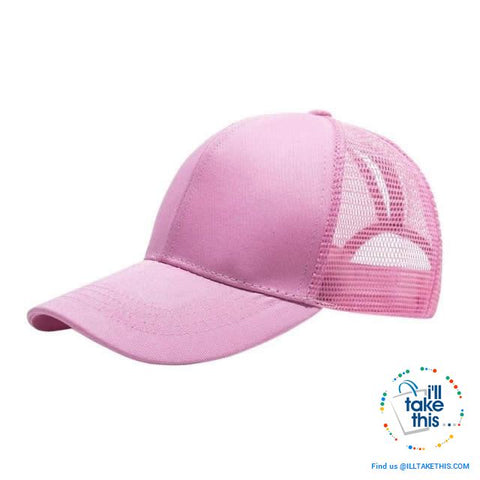 Women's Ponytail Baseball Cap - Aerated with Adjustable Velcro strap, 7 colors - I'LL TAKE THIS