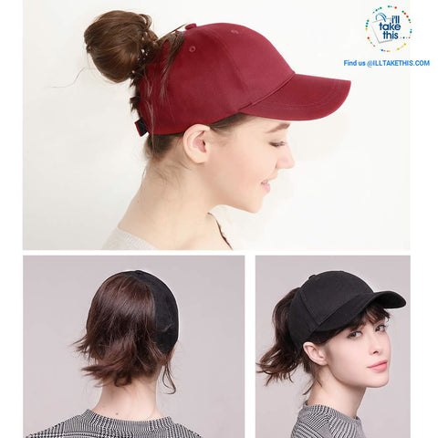 Ponytail Baseball Cap for Women of All ages, one Size - 7 color options - I'LL TAKE THIS
