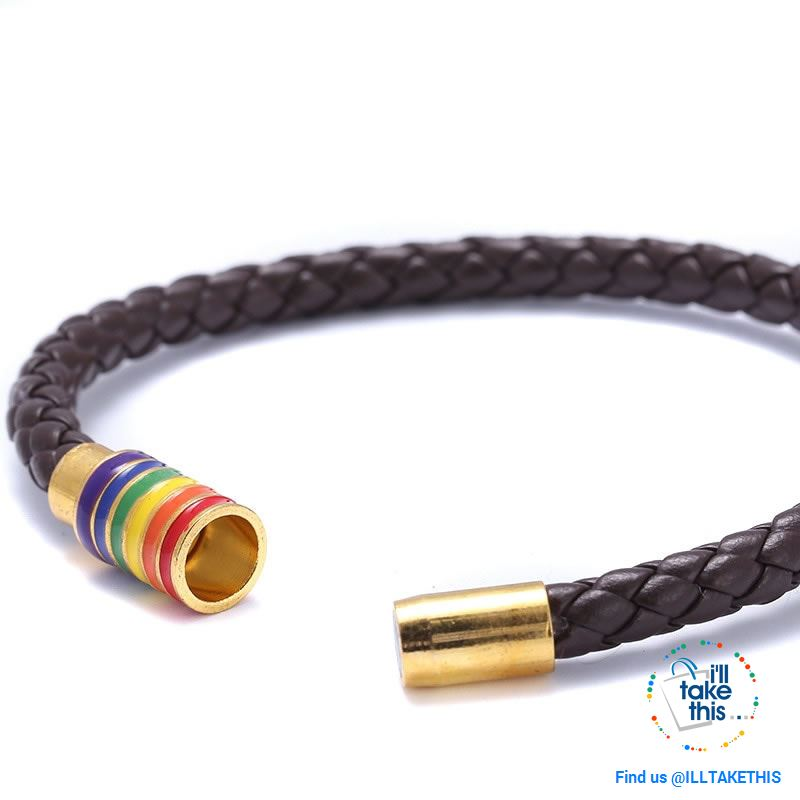 🌈 Rainbow Gay Pride LGBT Braided Vegan Leather Bracelet with Magnetic Clasp - I'LL TAKE THIS