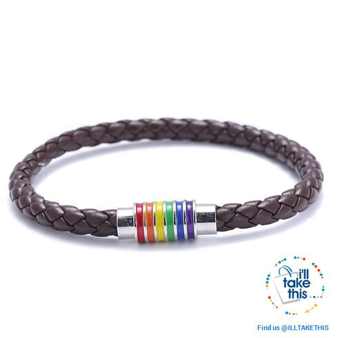 Image of 🌈 Rainbow Gay Pride LGBT Braided Vegan Leather Bracelet with Magnetic Clasp - I'LL TAKE THIS