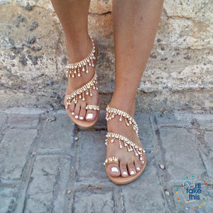 Bohemian Beach Sandals, a majestic array of Pearls & Sparkling crystals Handmade Chic Sandals Flip-flop