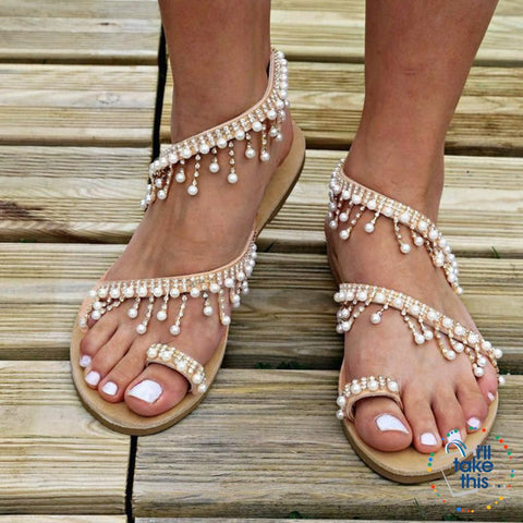 Image of Bohemian Beach Sandals, a majestic array of Pearls & Sparkling crystals Handmade Sandals Flip-flop - I'LL TAKE THIS