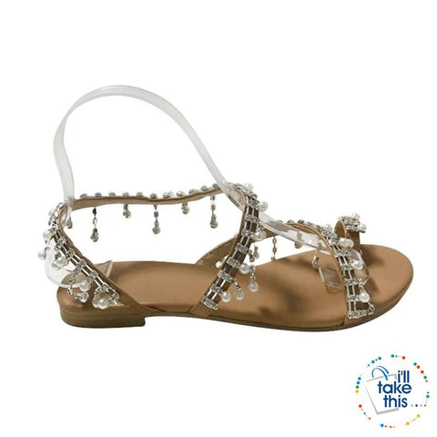 Bohemian Beach Sandals, a majestic array of Pearls & Sparkling crystals Handmade Chic Sandals Flip-flop - I'LL TAKE THIS