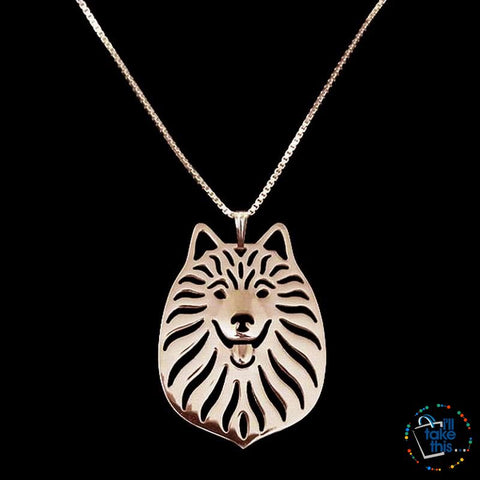 American Eskimo Dog Pendant in Silver, Gold or Rose Gold plating with BONUS Link chain - I'LL TAKE THIS