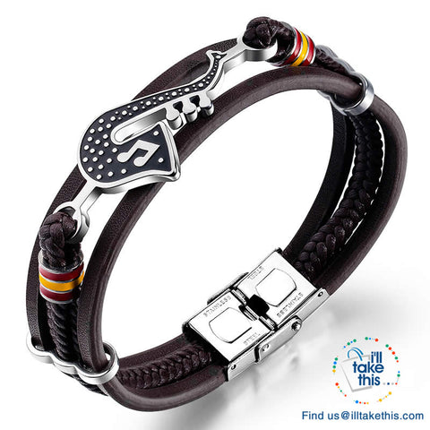 Stainless Steel Guitar, Saxophone or Treble Clef Bracelets/Rope Bangle - Suits all!
