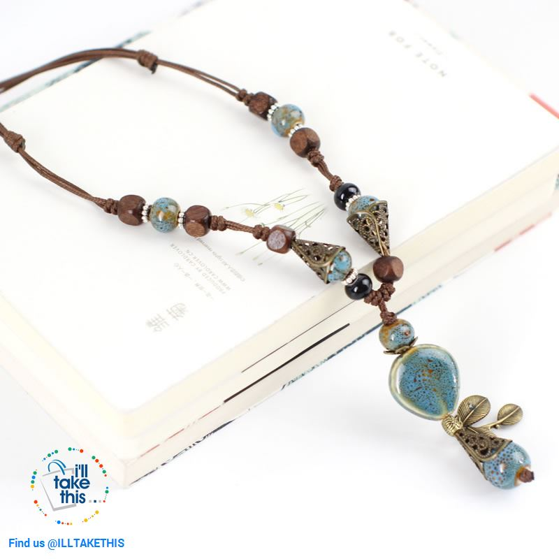 Bohemian/Gypsy style Necklace, gorgeous ceramic beading pieces - 3 color option - I'LL TAKE THIS