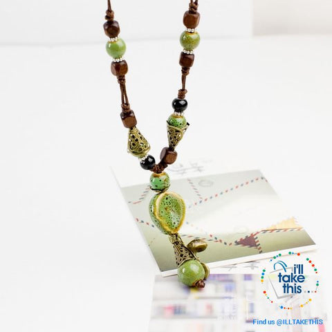 Image of Bohemian/Gypsy style Necklace, gorgeous ceramic beading pieces - 3 color option - I'LL TAKE THIS