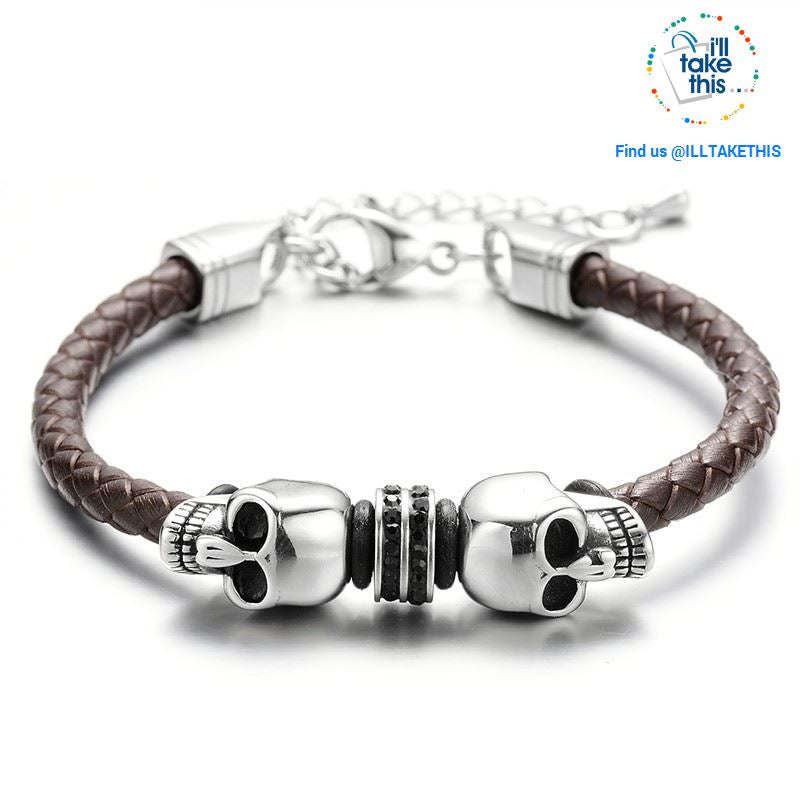 Men's Leather braided twin Skulls Bracelet 316l Stainless Steel Clasp with Adjustable Chain - I'LL TAKE THIS
