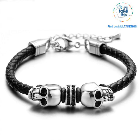 Image of Men's Leather braided twin Skulls Bracelet 316l Stainless Steel Clasp with Adjustable Chain - I'LL TAKE THIS