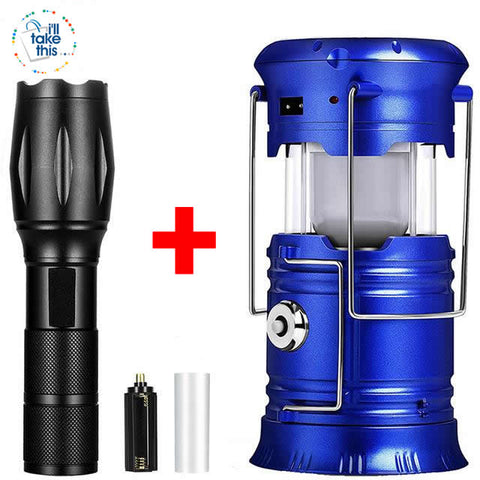 Image of Camping Bundle LED Lights - Solar Powered rechargeable Lantern/Torch Combination + Flashlight - I'LL TAKE THIS