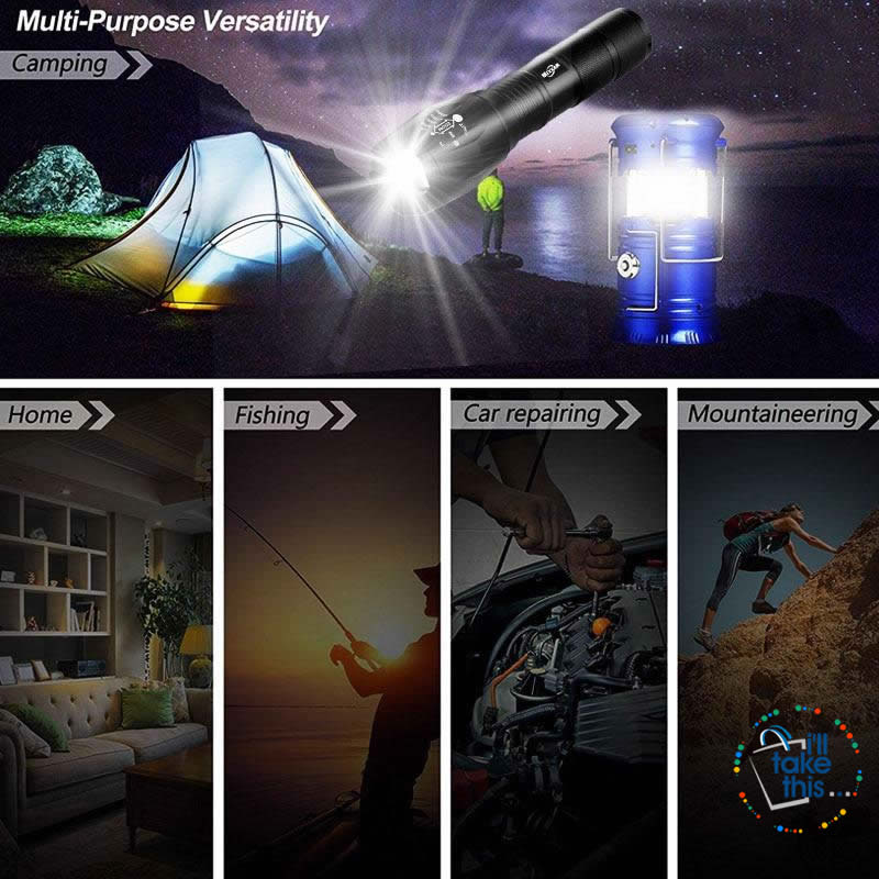 Camping Bundle LED Lights - Solar Powered rechargeable Lantern/Torch Combination + Flashlight - I'LL TAKE THIS