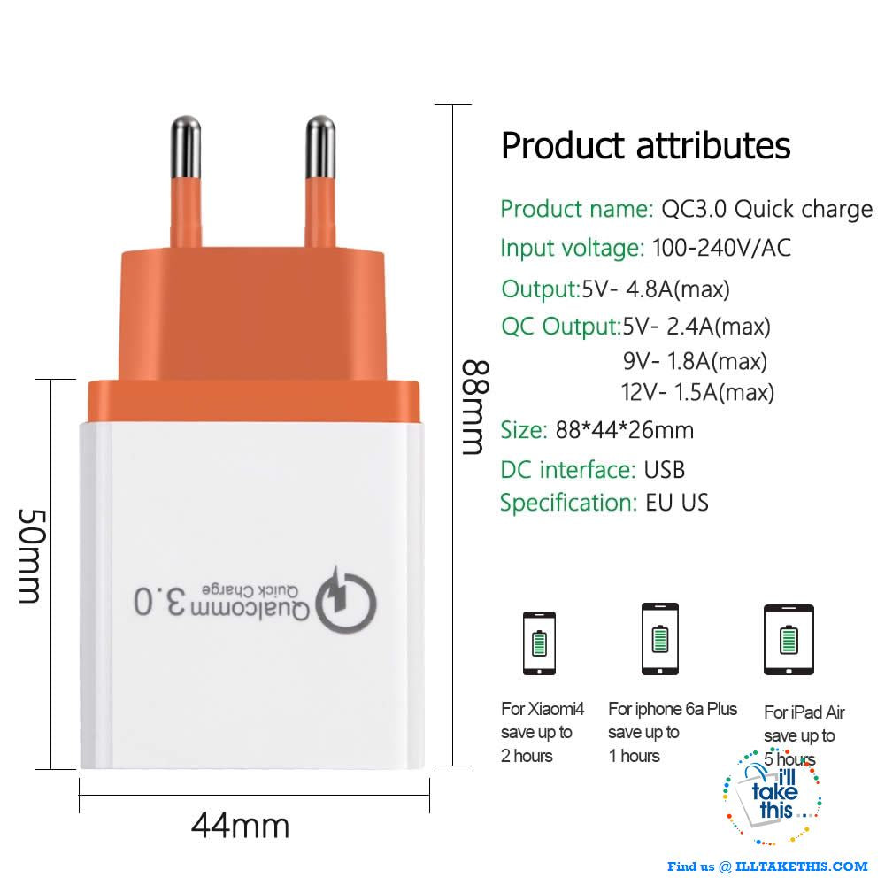 Universal 18W USB Quick charge 3.0 5V 3A for iPhone X, Xs, Xr, 8, 7, Samsung Note 9,9+, Note8,8+ - I'LL TAKE THIS