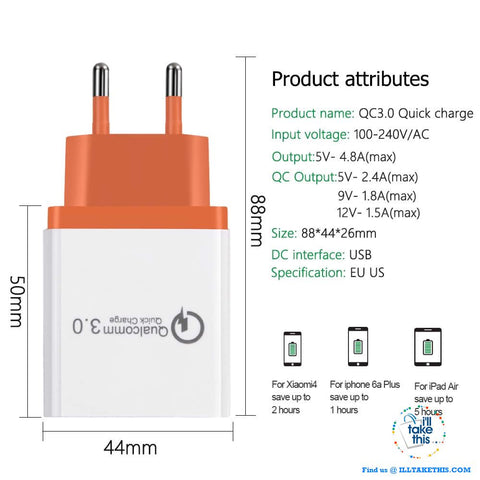 Image of Universal 18W USB Quick charge 3.0 5V 3A for iPhone X, Xs, Xr, 8, 7, Samsung Note 9,9+, Note8,8+ - I'LL TAKE THIS