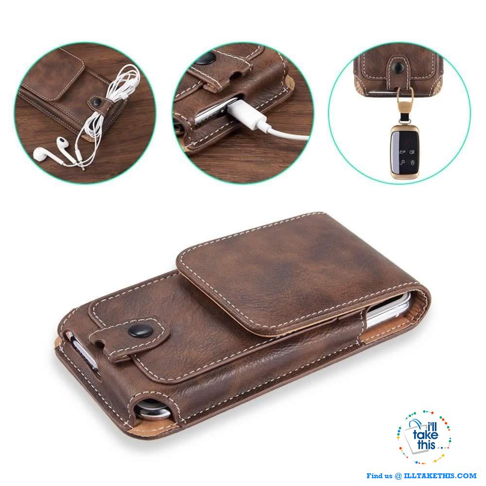 Universal iPhone/Android Phone Case, Magnet lock with Card Holder - 3 Sizes, 2 Color vegan Leather finish - I'LL TAKE THIS