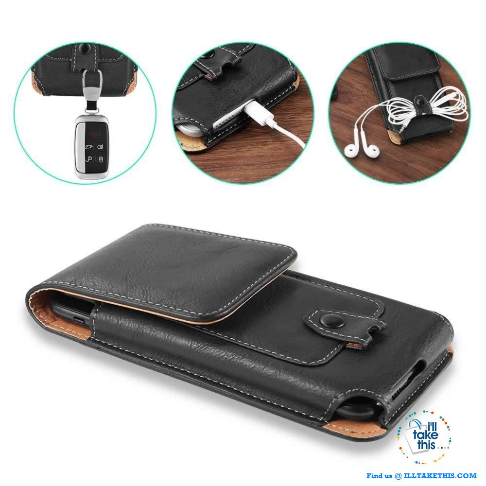 Universal iPhone/Android Phone Case, Magnet lock with Card Holder - 3 Sizes, 2 Color Vegan Leather - I'LL TAKE THIS