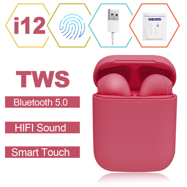 Wireless Earbuds with Touch Key and Mic, Suits iPhone, Android or any Bluetooth Smartphones