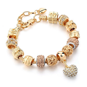 Luxury Crystal Heart/Charm Gold Bracelets For Women fashionable Jewelry