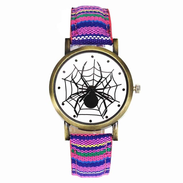Scary Black Spider Web Insect Design Women's Watches Camouflage Canvas Belt Watchband, Quartz - I'LL TAKE THIS