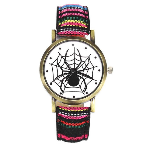 Image of Scary Black Spider Web Insect Design Women's Watches Camouflage Canvas Belt Watchband, Quartz - I'LL TAKE THIS