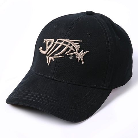 Image of Pure Cotton Fish Bones Embroidered Baseball Fishing Caps, Black-White or Navy-Gold - I'LL TAKE THIS