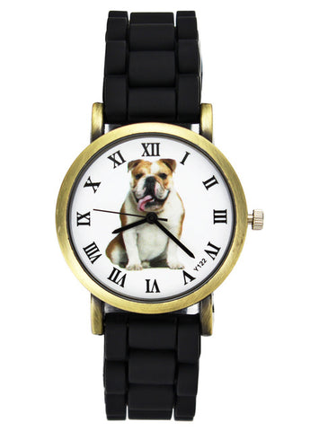 Image of British Bulldog Women Watches casual Silicone Band Unisex Quartz Wrist Watch in black or white - I'LL TAKE THIS