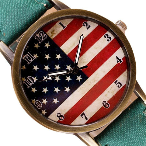 Image of ⌚ American Flag Retro Quartz Watches Unisex Vintage Leather Band - I'LL TAKE THIS