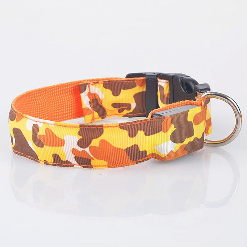 LED Light-up Dog Collars Camouflage Print -  Flashing or Glow In The Dark LED Nylon Pet Collar - I'LL TAKE THIS