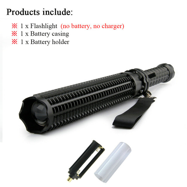 Baton Flashlight Self Defense powerful LED Telescoping cree xml t6 torch tactical flashlight, 18650 rechargeable - I'LL TAKE THIS
