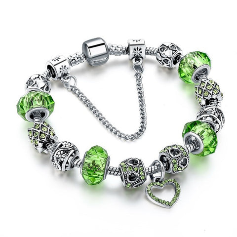 Image of Charm Bracelets - Silver Plated with Heart design in Blue, Green, Pink with Crystal Beads - I'LL TAKE THIS