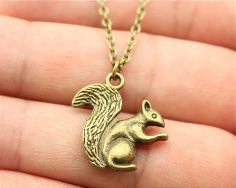 Vintage Squirrel in antique bronze or antique silver. Double sided Squirrel pendant + Free Necklace - I'LL TAKE THIS