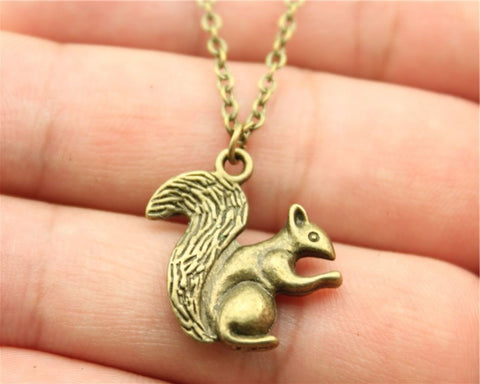 Image of Vintage Squirrel in antique bronze or antique silver. Double sided Squirrel pendant + Free Necklace - I'LL TAKE THIS