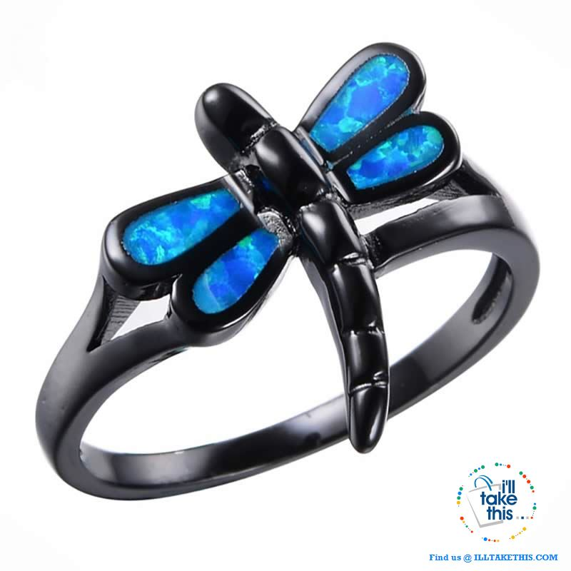 Vintage Black Styled, Blue Opal Dragonfly RING's 💍 - I'LL TAKE THIS