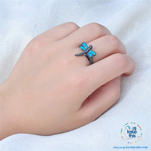 Image of Vintage Black Styled, Blue Opal Dragonfly RING's 💍 - I'LL TAKE THIS