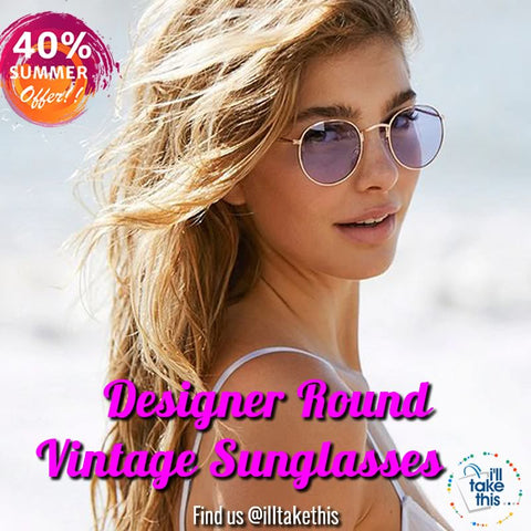 Image of Designer Round Sunglasses Women or Mens Vintage Retro Mirror Glasses - Lots of colors to choose from - I'LL TAKE THIS