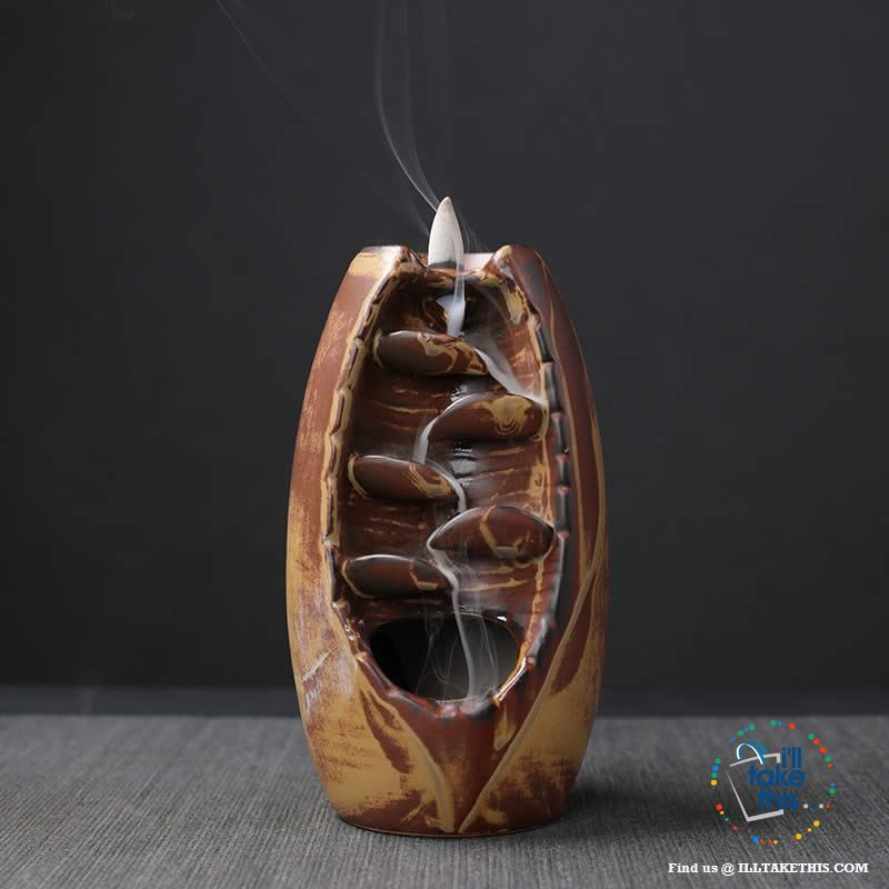 Ceramic Aromatherapy Waterfall Incense Burner - 4 Color Options - I'LL TAKE THIS