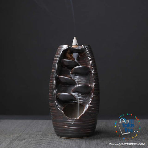 Image of Ceramic Aromatherapy Waterfall Incense Burner - 4 Color Options - I'LL TAKE THIS