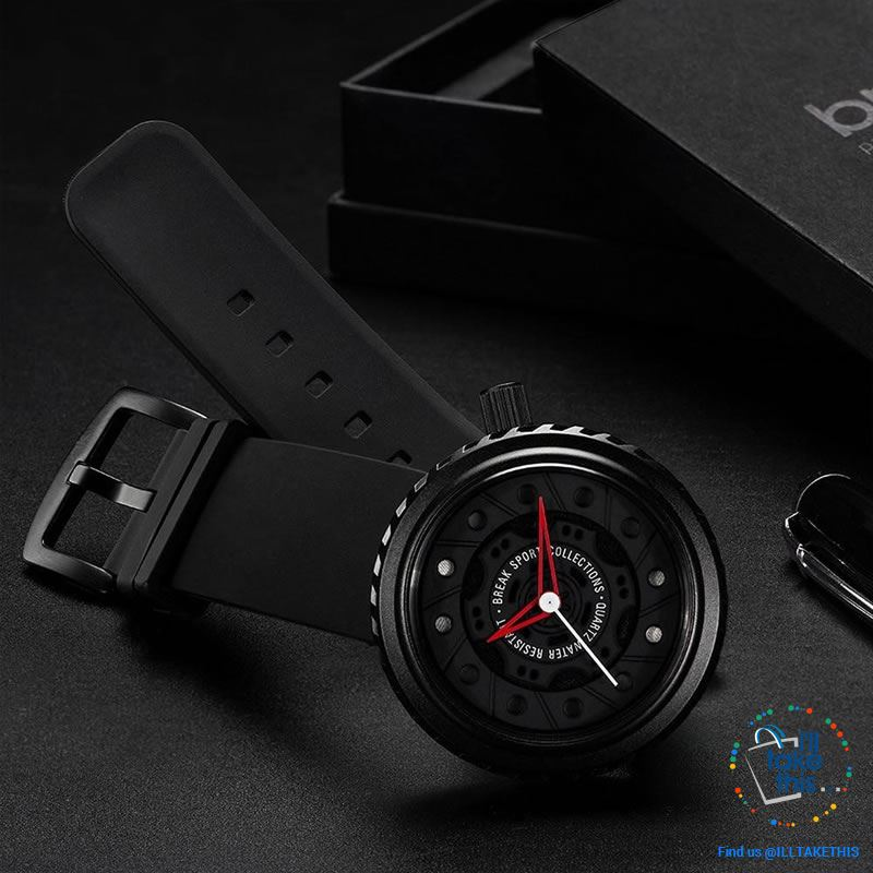 Waterproof Mens Wristwatches, Rubber Strap, 43mm/1.69' Watch face finished in Black or Silver - I'LL TAKE THIS
