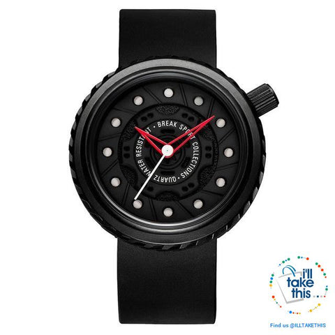 Image of Waterproof Mens Wristwatches, Rubber Strap, 43mm/1.69' Watch face finished in Black or Silver - I'LL TAKE THIS
