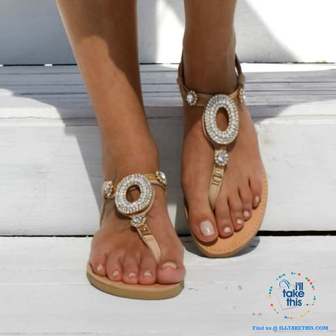 Image of Bohemian Beading Flat Sandals with Sparkling Crystals an Ideal Flip Flop and Casual Beach Sandals - I'LL TAKE THIS