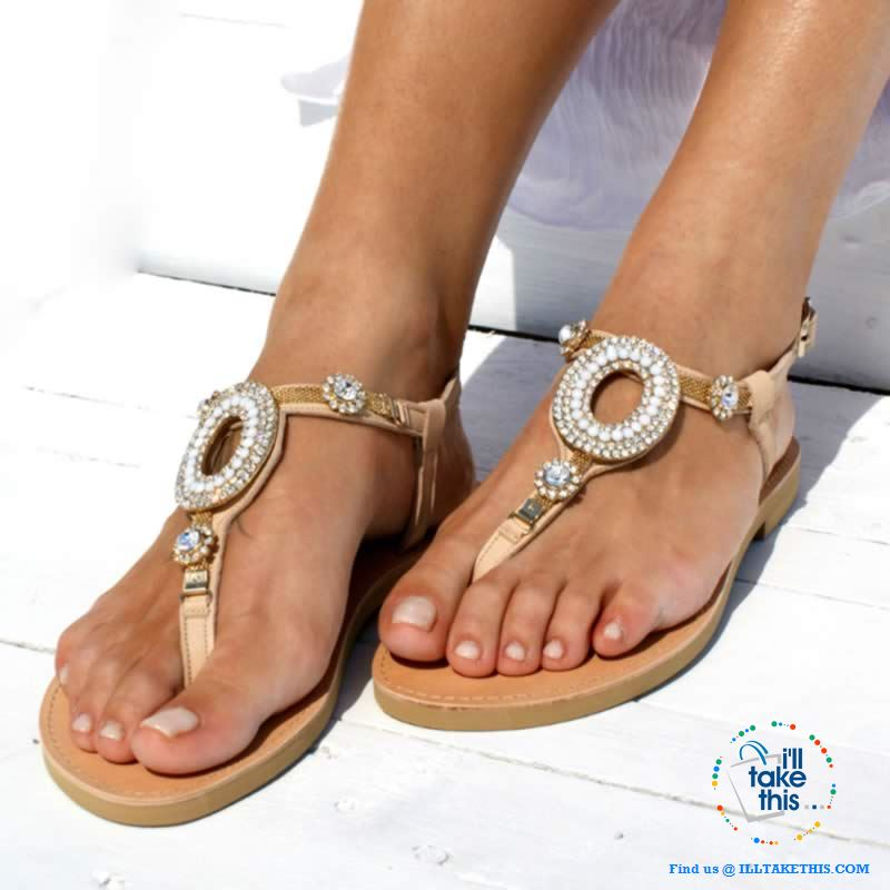 Bohemian Beading Flat Sandals with Sparkling Crystals an Ideal Flip Flop and Casual Beach Sandals - I'LL TAKE THIS