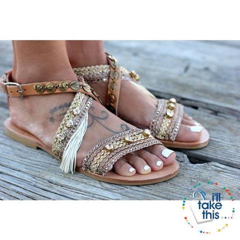 44e8a21e7d89 ... Image of Gorgeous Bohemian Beach Sandals - Flip Flops Handmade Vegan  Leather Straps wrapped in Gold ...